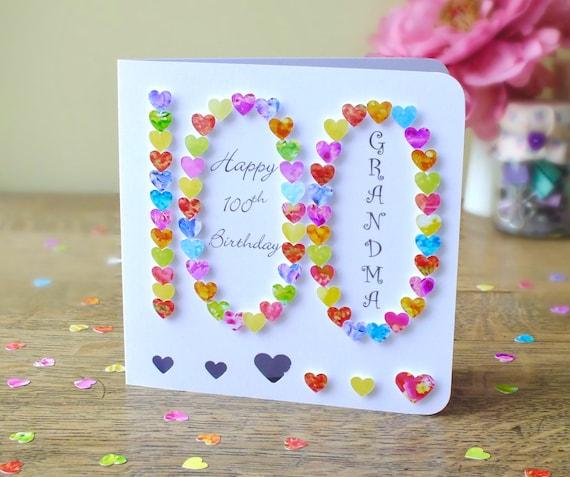 100th birthday card personalised handmade 3d '100'