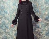 Winter coat, wool coat, fur collar, 1960s, midi coat, size medium, black winter coat, princess coat, warm coat, vintage coat, medium