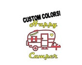 SMALL Decal, Happy Camper Decal, Vinyl Decal, Retro Camper, Vintage Camper, Custom Decal,  Camping Gift, Window Decal, Mug Decal, Wine Glass