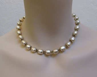 1950's Miriam Haskell Baroque Single Strand Pearl Necklace / Choker