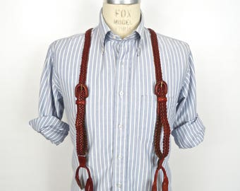 Vintage Braided Leather Suspenders / red brown oxblood, button-on braces with adjustable leather buckles / men's small-medium