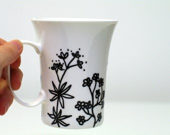 Hand painted mugs big painted white large coffee mug Large mug - coffee cup - black and white flower mug - big mug - latte mug perfect gift