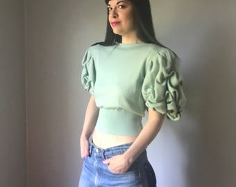 vintage 70s EMANUEL UNGARO Parallele Paris sea foam green cashmere sweater | short sleeve poof shoulder sweater