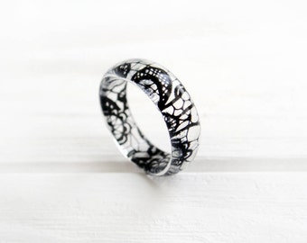 black lace ring resin ring lace jewelry matching for sexy lingerie gothic lolita anniversary gifts for - Womens Black Wedding Rings