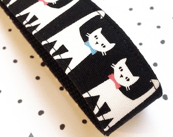 Wide Key Chain / Key Fob: Black Fabric With White Cats