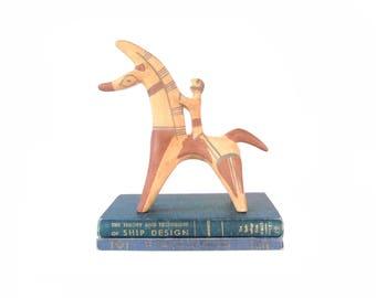 Large  Ceramic Etruscan Horse & Rider Statue Mid Century Ceramic Sculpture Vintage Stylized Pottery Clay Figure Modernist Minimalist Decor