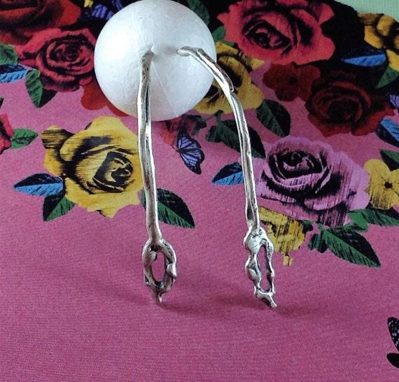 Long Stud Earring, Long Earring , Fancy Drop Earring, Long Silver Earring, Post Earrings, Handmade Silver Earrings