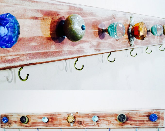 Bathroom wall decor / towel rack /bath room organization/ reclaimed wood organizer art aqua 8 gold towel hooks 7 teal blue glass knobs
