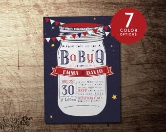 BBQ baby shower invitation, babyQ coed baby shower invitations, BBQ, co-ed baby shower barbeque, printable party invitations