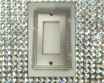Clear Crystal Rhinestone BLING Three Tier Decorative Single Rocker Light Switch Cover Plate