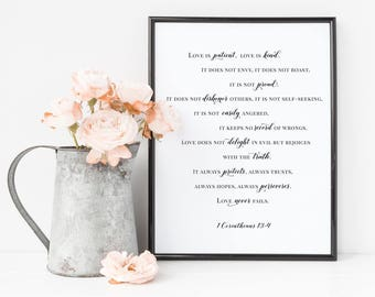 Love is patient, love is kind - 1 Corinthians 13:4, Printable Digital File, Christian Print, Religious Quote, Printable PDF