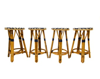 French Bamboo Bar Stool by Maison Drucker