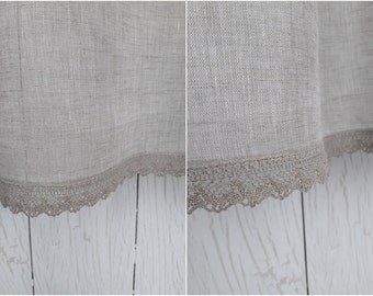 Linen curtains Gold lace Linen sheer curtain Window curtains Natural linen curtain Modern linen window Grey curtains panel Linen drapery