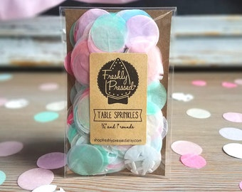 "Table Sprinkles! Pink + Pastel Confetti 3/4"" & 1"" Rounds. Perfect Table Decorations for a Shabby Chic, Tea Party Baby Shower or Girly Event!"