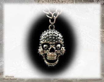 "Skull and Cross Chain Necklace, 17"", Homemade, Jewellery, Jewelry, Unisex, Hematite, Silver, Metallic, Halloween, Music"