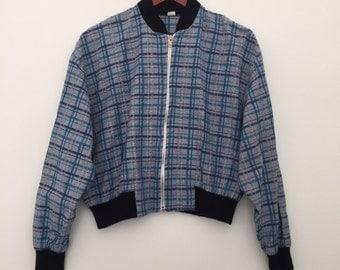 Vintage bomber jacket / checkered jacket / bomber jacket / vintage jacket / 80s bomber / summer jacket / checkered bomber / made in France