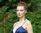 Long Iridescent Green Beetle Wing Earrings Unique Natural Insect Jewelry