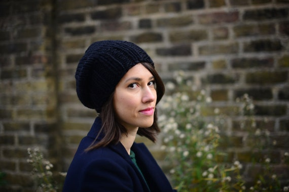 Women's Knitted Hat, Slouchy Hat, Hand Knit Hat, Winter Hat, Chunky Knit Hat, Winter Accessories, Black