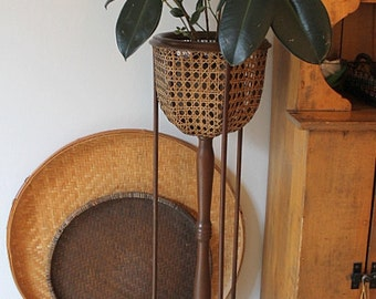 Vintage Cane and Wood Plant Stand