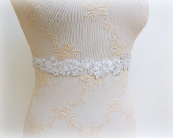 White Floral Lace Belt Elastic Waist Beaded Embroidered Bridal