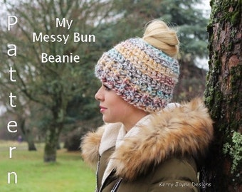 CROCHET PATTERN - TUTORIAL Messy Bun Beanie Crochet Pattern Pony Tail Hat Crochet Pattern Messy Bun Hat Crochet Pattern Sizes 2 Yrs - Adult