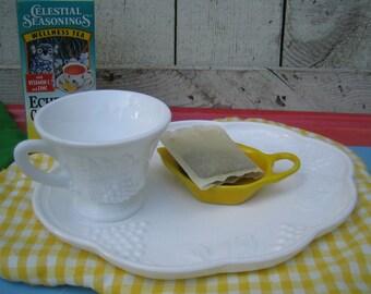 Colony Harvest Milk Glass Snack Sets - Set of 2 - Bridal Shower, Breakfast in Bed, Coffee/ Tea Gift, Office Breakfast