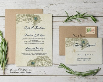 Peacock Wedding Invitation Rustic Printable Feather Gold
