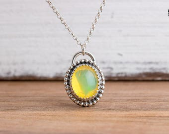Fiery Ethiopian Opal Gemstone Necklace in Sterling Silver with Beaded Border - Oval Opal Necklace - Yellow Green Orange Real Opal