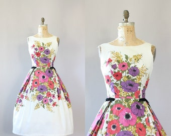 Vintage 50s Dress/ 1950s Cotton Dress/ Pink & Purple Floral Cotton Piqué Dress w/ Bows M