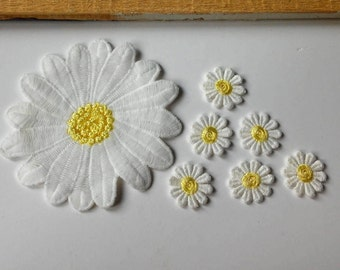 Flower patches Small patches Large patch Flower appliques Embroidered patches Small daisies Embroidered daisies Daisy patch Cream