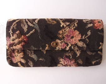 1950s carpet bag elongated envelope clutch dark brown black floral Botanical Tapestry Purse