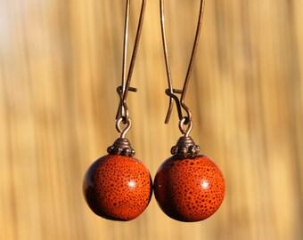 Orange Earrings Ceramic Earrings Dangle Earthy Earrings Boho Chic Earrings Copper Jewelry Gift For Her Gift Ideas