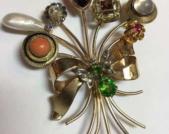 Vintage 14k Yellow Gold 8 Stickpin Bouquet Brooch Pin Savorite Bug