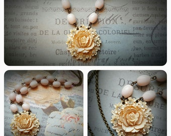 1940s Carved Celluloid Rose Rhinestones Necklace With Vintage Soft Pink Rosary Beads.  MissShugsJewelryShow.