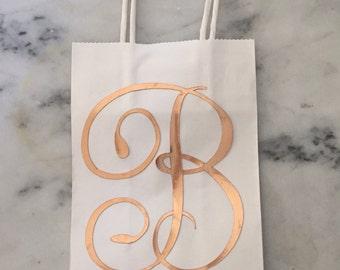 Rose Gold Initial Gift Bag