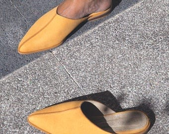 Honey leather slippers - Mustard suede leather slippers - Open back slippers - Leather loafers - Handmade Leather Shoes - Suede Leather