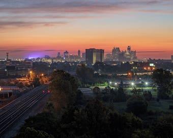 Lustre Print: Sunrise Skyline From Southwest Detroit