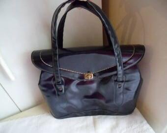 Vintage 1950s Australian navy blue patent leather handbag purse bag