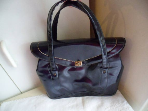 Vintage 1950s Australian navy blue patent leather handbag