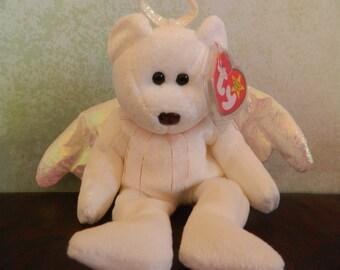 "TY White Angel Bear Beanie Baby ""Halo"" (B)"