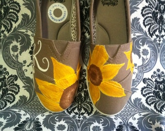 Handpainted Sunflower Shoes with Custom Intial