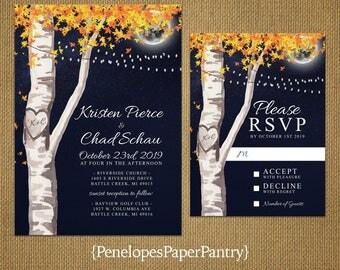 Elegant Rustic Navy Fall Wedding Invitation,Birch Tree,Fall Leaves,Night Sky,Full Moon,Starry Sky,Carved Heart,Carved Initials,Fairy Lights
