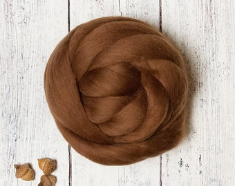 Chocolate 4 oz Ethical Merino Wool Roving Combed Top Sliver Fiber, Brown for Felting, Nuno, Spinning, Animal Friendly from Non-mulesed sheep