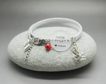 """bracelet daim argenté cabochon """"Super ATSEM"""" prénom enfant crayon - cadeau scolaire personnalisable - teacher gift"""