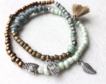 Ibiza style bohemian bracelet with glass beads