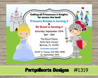 DIY -Princess and Knight  Party Invitations Cards.