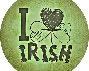 I Clover Irish St Patricks Day Pin-Back Button 6 Sizes Shamrock Heart Ireland