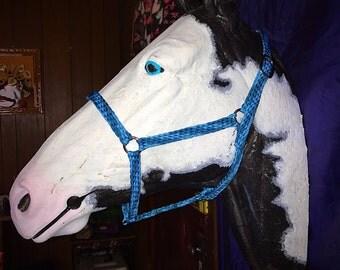 Braided Horse Halter Dark Blue/Light Blue