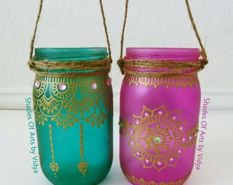 Mason jar lanterns / Henna lanterns / Henna Mason Jars / Henna Art / Decorative Mason Jars / Home Decor / Wedding Decor / Moroccan lanterns