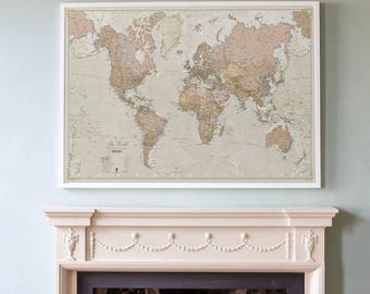 Antique World Map Vintage Map Home Decor Bedroom Living Room World